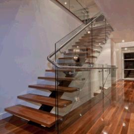 钢木楼梯玻璃护栏 不锈钢扶手