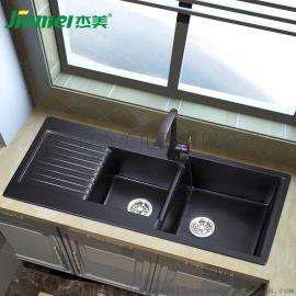 杰美JM105厨房石英石水槽双槽花岗岩水槽