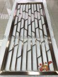 中式拉絲玫瑰金不鏽鋼滿焊屏風-方格款式最經典高清圖