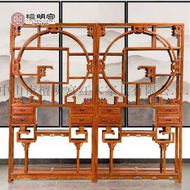 檀明宫红木家具刺猬紫檀花梨木博古架中式实木多宝阁玄关柜置物架