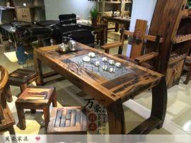 万豪船木家具功夫泡茶桌客厅茶几石磨茶桌