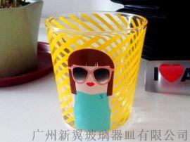 螺旋纹玻璃水杯烤花玻璃口杯定制厂家