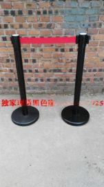 黑色烤漆栏杆伸缩隔离带武汉礼宾柱现货一米线