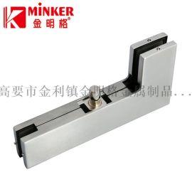 L形铝合金主体、不锈钢外壳,用于钢化玻璃门曲夹