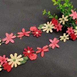 彩色水溶刺绣花边涤光丝民族风电脑绣花服装饰品花边