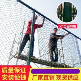 沃达球场围网 穿钢筋铁丝网体育场围栏 压扁铁式运动场围栏