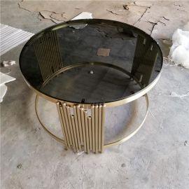 客厅电视柜茶几加工定制厂家香槟金不锈钢茶几简约