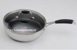 304不锈钢煎锅 特氟龙涂层无油烟不粘锅煎盘 OEM厂家