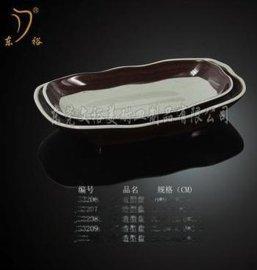 广东肠粉盘 船型盘 美耐皿仿瓷餐具 密胺A5料 长方造型盘
