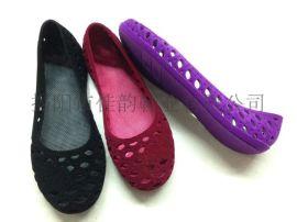 揭阳厂家供应女款植绒镂空单鞋