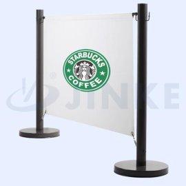 金柯黑色喷塑栏杆座 广告布隔离栏 机场、银行围栏