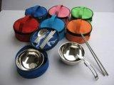 圓碗折疊食具三件套 便攜不鏽鋼食具套餐 創意禮品 廣告促銷 學生便攜食具