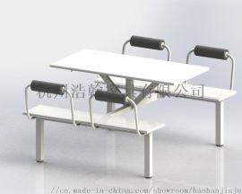 快餐桌椅组合经济型食堂不锈钢连体餐桌四人位简约现代