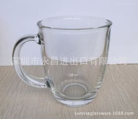 加厚大容量透明带把玻璃水杯奶茶咖啡杯透明牛奶杯