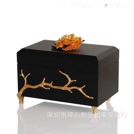 黑色金色长方形木质烤漆合金首饰盒欧式创意客厅卧室酒店实木摆件