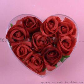 心型玫瑰花盒 亚克力花盒定制 透明花盒 带抽屉花盒