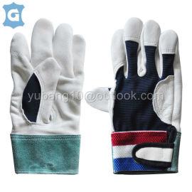白色牛头层皮革透气网格布工作安全手套
