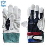 白色牛頭層皮革透氣網格布工作安全手套