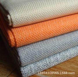 现货供应24色特粗双色麻沙发布装饰面料扎毛涂层加厚空变丝仿麻布