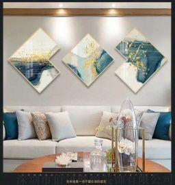 新中式客厅装饰画欧式风格三联画餐厅沙发背景墙壁挂画