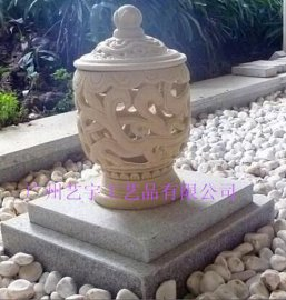 人造砂岩灯饰装饰柱子 人造石透光柱墩 园林景观镂空柱墩透光装饰球 装饰柱