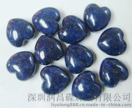 【天然宝石】时尚天然青金石30MM心形原材料半宝石加工生产批发