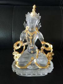 鎏金琉璃佛像,琉璃金刚萨垛24k金,深圳琉璃佛像