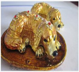 铅锡合金甩铸珠宝盒、动物造型首饰盒、