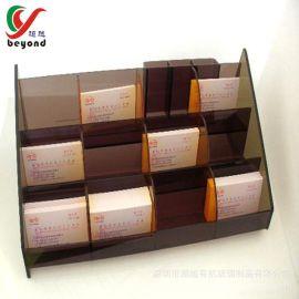 展会亚克力名片盒定做名片盒厂家三层梯形茶色名片座亚克力展示架