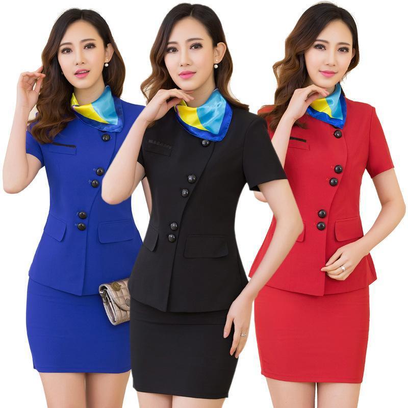 供应空姐制服酒店工作服职业女装经理套裙短袖夏季正装加LOGO