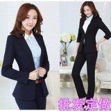 廠家供應職業裝女裝修身顯瘦正裝西服西裝套裝藍色黑色