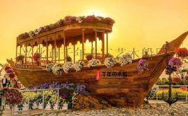 大型木质船模展示船 大型园艺船厂家 装饰船设计报价