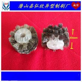 弘欣尼龙丝毛刷轮 倒角钢丝轮刷 抛光塑料铜丝轮