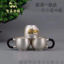 中国银都 999纯银功夫茶杯 手工茶具茶器定制