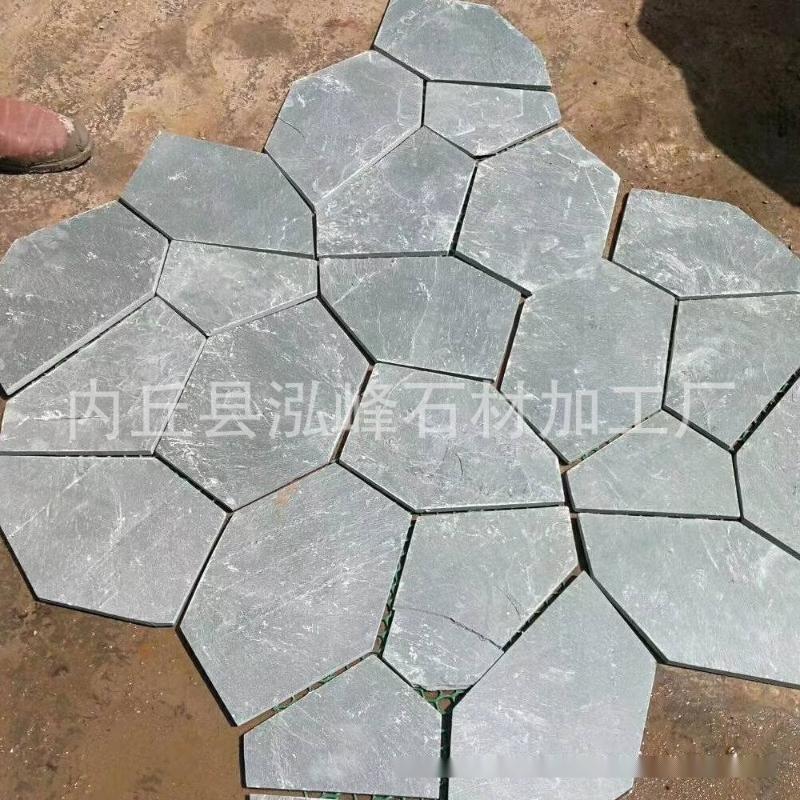 批发青灰色冰裂纹石材 圆弧板碎拼深灰色花岗岩加工 冰裂纹石材厂