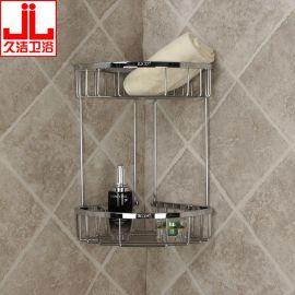 外贸定制304不锈钢2088卫浴双层转角网篮置物架角架