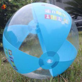 30cm六片PVC充气沙滩球 卡通儿童玩具嬉水球