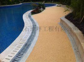 胶粘彩石透水地坪优点