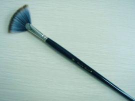 258化纤丝扇形黑色木杆画笔