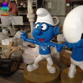 广州玻璃钢雕塑厂尚雕坊现货质保供应H115CM卡通造型蓝精灵玻璃钢动漫城装饰展览摆件工艺品