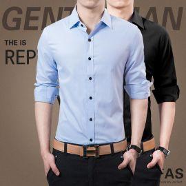 白衬衣男士加大码纯色寸衫韩版衬衫男长袖修身型衬衫