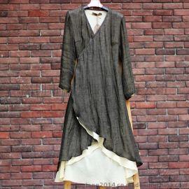 中式原创设计棉麻女装中式复古亚麻长袍宽松收腰连衣裙袍子茶服禅服汉服