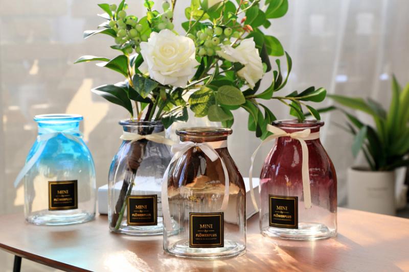 渐变色居家玻璃花瓶 柒瓶玻璃大肚花瓶