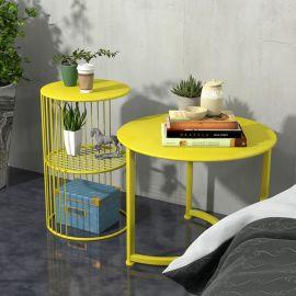 客厅沙发边几组合 创意休闲圆形小茶几简约铁艺角几