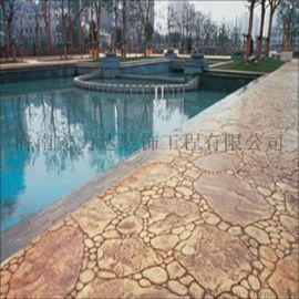 泳池边防滑压膜防滑地坪,复古美观,海南宏利达
