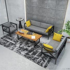 loft工业风办公室商务会客接待沙发椅组合