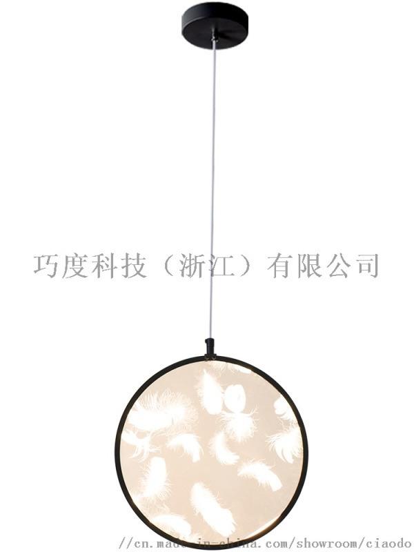 羽毛灯新中式小吊灯创意复式楼梯灯长吊灯卧室餐厅