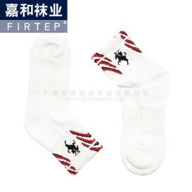 2018毛巾底运动袜 白色纯棉 可加顾客图标logo