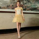 吊带短款黄色蓬蓬礼服裙