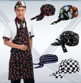 日式料理店店厨师帽头巾厨房工作帽中西餐服务员海盗帽韩式包头帽